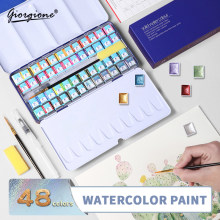 GIORGIONE High-end Artist Watercolor Paint Set Contains Pearlescent Color With Watercolor Paint Brush in a Portable Metal Box