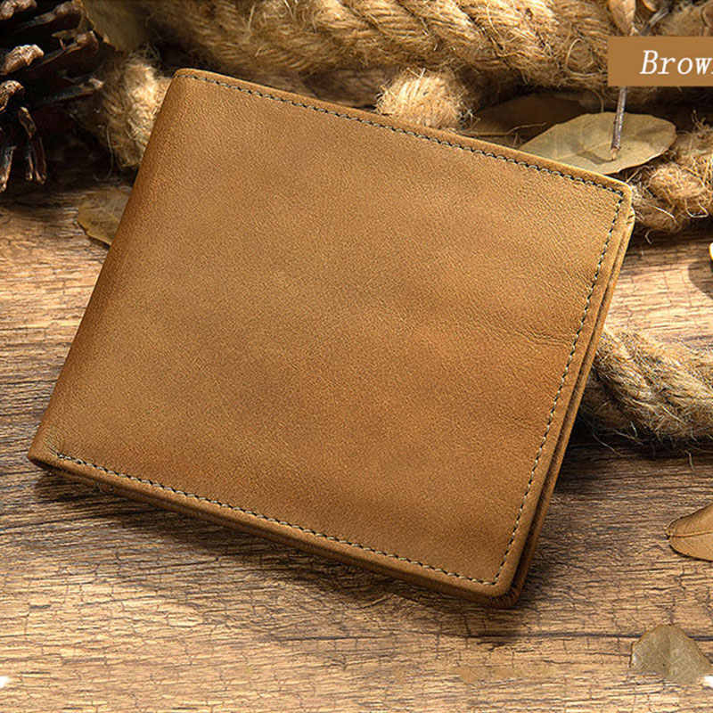 Nieuwe Lederen Portemonnee Mannen Echt Lederen Portefeuilles Man Kleine Kaarthouder Portefeuilles Vintage Korte Portemonnee Voor Mannelijke