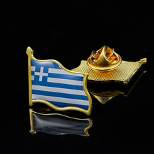 Greece Waving Flag Lapel Pin 19 x 21mm Hat Tie Tack Badge Lapel Pin Brooch Badge sweden waving friendship flag metal lapel pin united nations badge pin back tie badge
