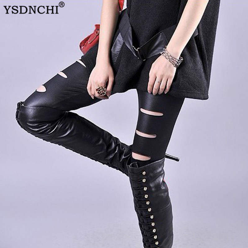 YSDNCHi Women Faux Leather Ripped Holes Legging Skinny Pencil Pants Stretch Black Trousers Fashion Stretch High Waist Leggings