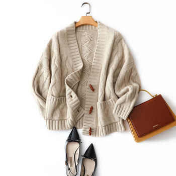 Thick Warm Cashmere  Women Winter Sweater Clothes Cardigan Single Breasted Vintage Pockets Solid Fall 2020