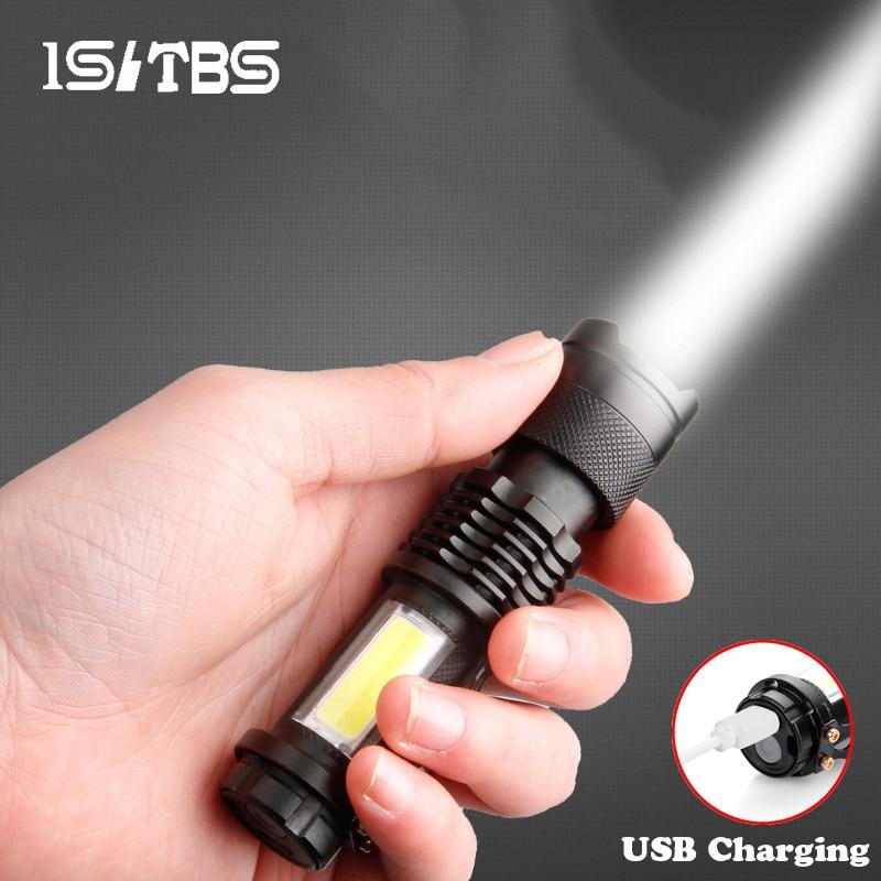 Mini lampe de poche Portable Q5 + COB, Troch Super lumineuse, étanche, zoom, batterie Rechargeable intégrée, éclairage dextérieur pour le Camping, LED