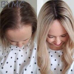 Ombre Blonde Jüdische Haar Topper Lange Gerade Natral Schwarz Farbe Schließung Toupet Männer Frauen Toupet Europäischen Remy Haar Mono Perücke