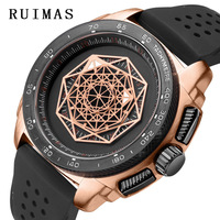 Ruimas Pria Fashion Olahraga Kuarsa Hublo Watch Mens Watches Top Brand Mewah Kreatif Silikon Tahan Air Clock Relogio Masculino