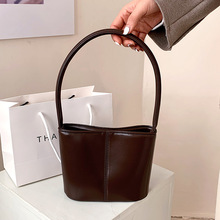 European And American Retro All-Match Underarm Handbag High Quality Lather Women's Bag 2021 New Solid Color Shoulder Bucket Pack