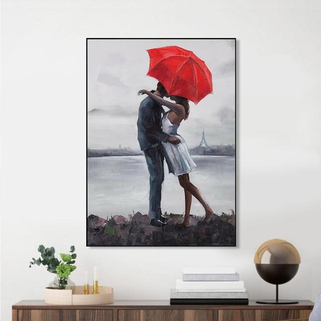 Couple Rain Umbrella Oil Paintings Printed on Canvas 2