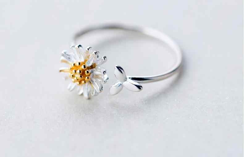 Plata de Ley 925 auténtica coreana Margarita flor anillos para mujeres anillo de boda ajustable joyería de moda