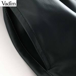 Image 4 - Vadim נשים עור מפוצל מוצק מיני חצאית רוכסן לטוס אלסטי מותניים כיסי עיצוב נשי אופנתי שיק בסיסי חצאית mujer BA857