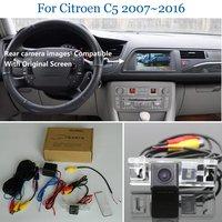 Tylna kamera samochodowa zestawy do Citroen C5 2007 ~ 2016 tylna kamera cofania RCA i oryginalny ekran w Kamery pojazdowe od Samochody i motocykle na