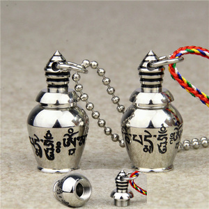 Stainless Steel Can Open Buddhism Faith Jewelry Sanskrit Mantra Stupas Amulet Pendant Necklace For men women Ash Urn Jar Jewelry(China)