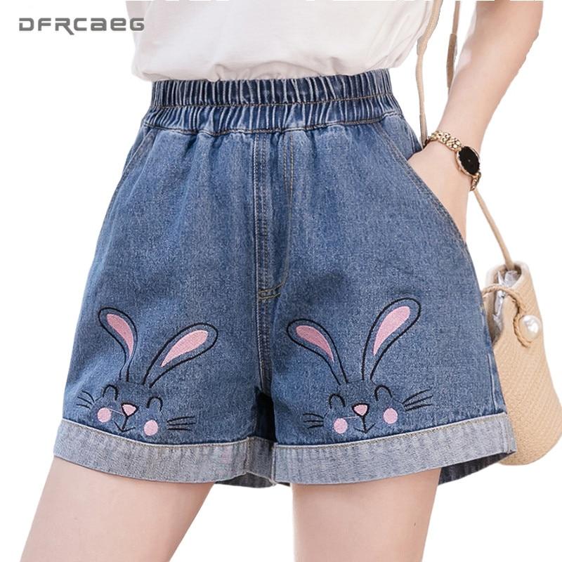 4XL 5XL Loose Plus Size Women Shorts Jeans 2020 Summer Casual Elastic Waist Ladies Denim Shorts Femme