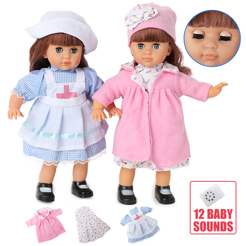 14 Inch Simulation Bebe Reborn Doll Silicone 36cm Realistic Sound Long Hair Baby Nurse Clothes Set For Toy Children