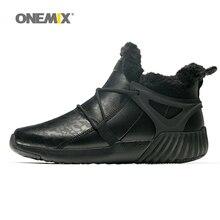 купить ONEMIX Winter Men and Women Sports Shoes Waterproof Warm Snow Boots Outdoor walking shoes Black leather Sneakers Plush lining дешево
