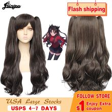 Ebingoo Fate Stay Night Tohsaka Rin peluca Fate Grand Order Peluca de Cosplay sintético Peluca de onda larga negra con Clip doble cola de caballo(China)