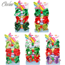 5 Sets/Pack 3 Jojo Siwa Hair Bows For Girls Christmas Hairgrips Set Handmade Kids JOJO Xmas Party Hairpins Headwear