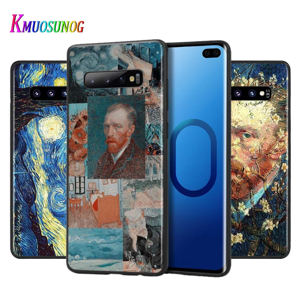 Silicone Black Cover Van Gogh Oil Painting for Samsung Galaxy Note 10 9 8 Plus S10 5G S9 S8 S7 Plus S6 Phone Case image