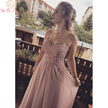 Lace Applique Prom Dress Pink Chiffon Long Beaded Plus Size Formal Spaghetti Strap Sweetheart Sleeveless A Line Evening Gowns charming a line sweetheart sleeveless beading prom dress