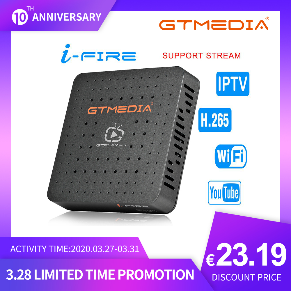 GTMedia Ifire IPTV Box Digital Set Top Box TV Decoder FULL HD 1080P (H.265) Built-in WIFI Module Support Iptv Spain DE IT UK M3u