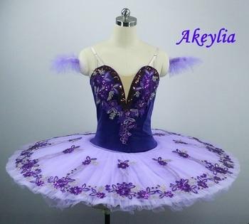 The Nutcracker Purple Ballet Tutu Girls Pancake Professional Platter Doll Stage Costume Kids Classical Dress Adult