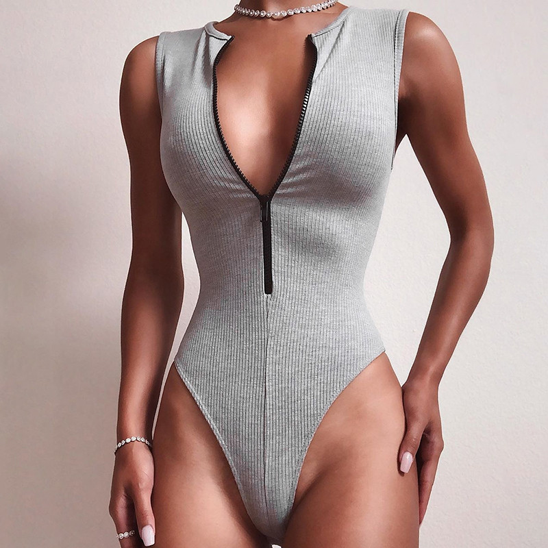 Women Sexy Deep V-neck Sleeveless Bodysuit Romper Tops Front Zipper Bodysuit Clubwear Women Clothes Slim Sport Bodysuit Jumpsuit