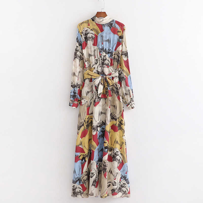 RR, свободные, с бантом, тонкие, длинные платья, для женщин, модное, с принтом, платье для женщин, элегантное, с поясом, на талии, с длинным рукавом, платья для женщин, для девушек, JR