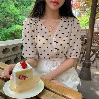 printed micro tops  high waist loose pants  white shorts Shirt Spring femme Casual Tops Women short sleeve chiffon Girls Blouse 1