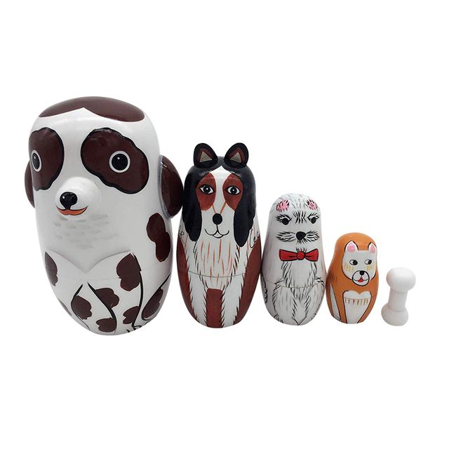 5Pcs/Set Hand Painted Dotted Dog Animal Nesting Dolls Matryoshka Puzzles Assembly Model Figurines Toys 2