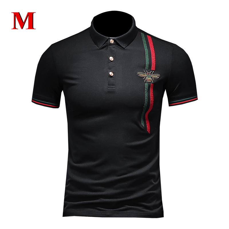 MENNE 2020 New T Shirt Men Shirt Badge Embroidery Polo Shirt Men
