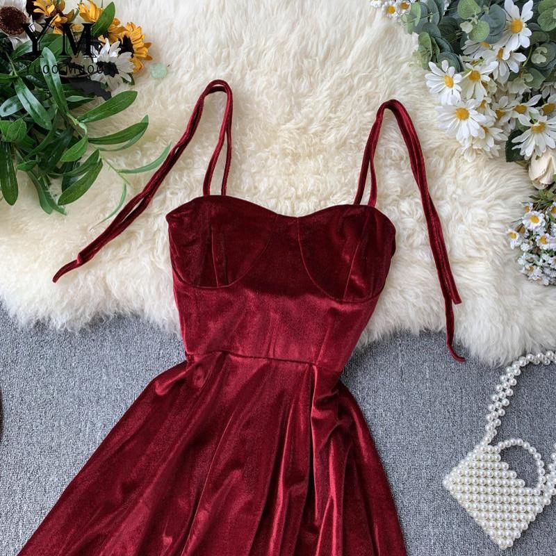 YuooMuoo Elegant Vintage Gothic Spaghetti Strap Dress 2019 Early Fall Basic Women Short Party Dresses Slim High Waist Mini Dress 2