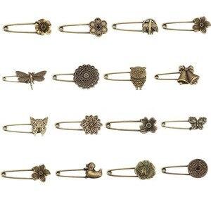 5 unidades por lote, broches de aleación de bronce antiguo con diseño de flores y animales, broches de seguridad para prendas de vestir, accesorios, sombreros, bufanda para decoración de Jersey