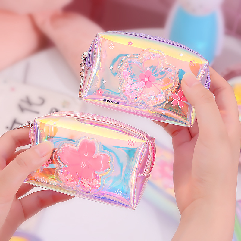 X0010 GIRL'S Heart Oil Into Quicksand Purse Laser Colorful Zip Coin Purse Storgage Bag Transparent Wallet