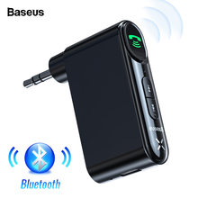 Baseus coche AUX Bluetooth 5,0 adaptador 3,5mm Jack receptor de Audio inalámbrico manos libres Bluetooth Kit de coche para teléfono Auto transmisor(China)