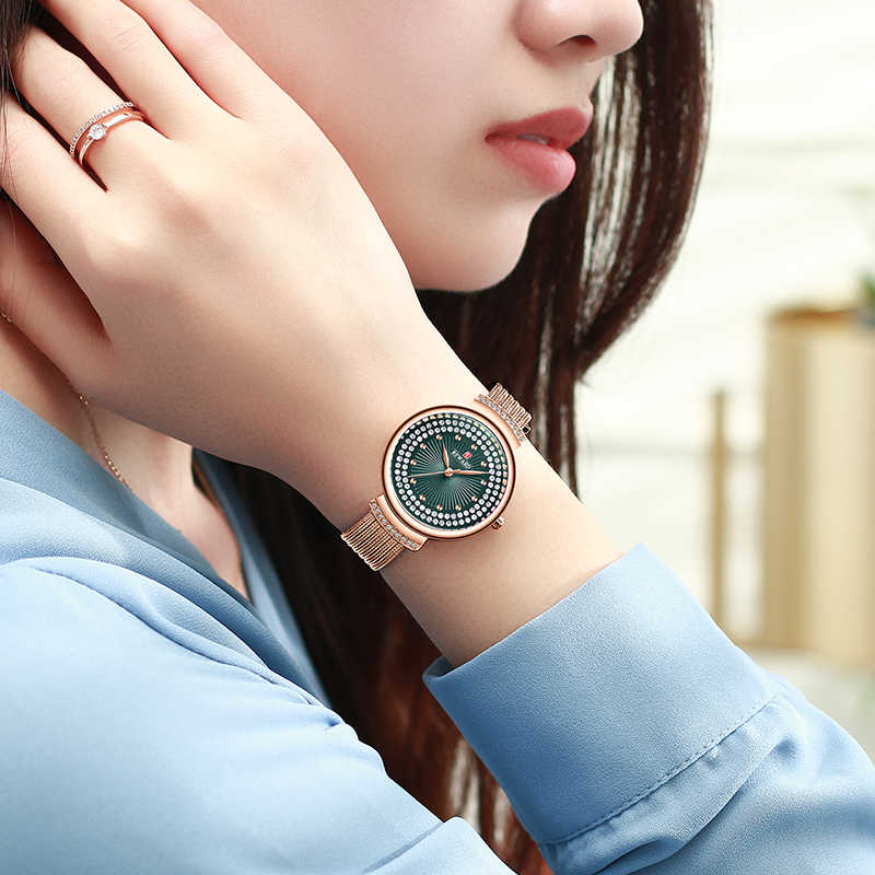 Relojes de pulsera casuales impermeables de cristal con diamantes de cuarzo para mujer de moda con correa de malla de marca de lujo