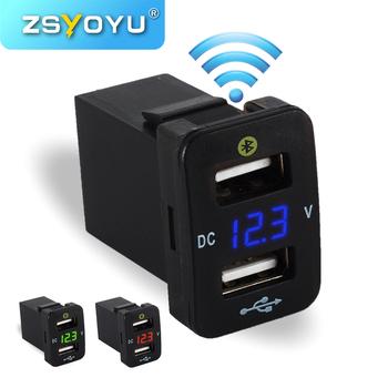 Najbardziej modna ładowarka samochodowa 4 2A Dual USB woltomierz 12V gniazdo USB Adapter ładowarki komórkowe szybki podwójny port USB ładowarka samochodowa dla Toyota tanie i dobre opinie zsyoyu 33*23*40mm 40*22*40mm FTWU(DW) FTWUX(DW) Usb2 0 Plastic Metal 12 v Kable Adaptery i gniazda 0 04kg 2 USB Charger Voltmeter Parking Location