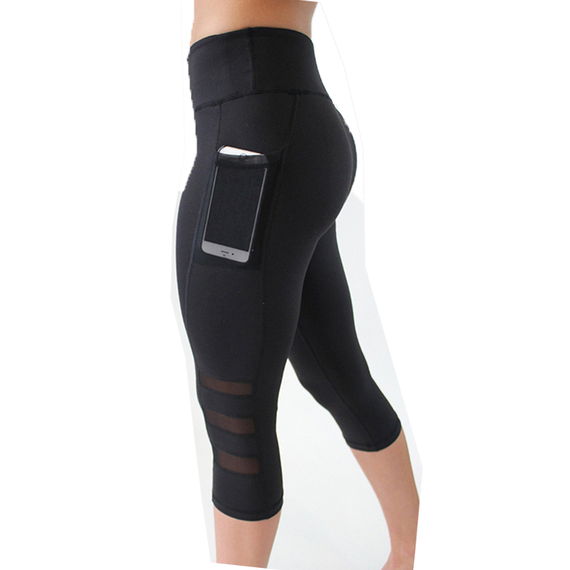 Ogilvy Mather Summer Mesh Patchwork Leggings Women Pocekts Capri Pants Women Fitness Sportswear Leggins Sexy Workout Leggings