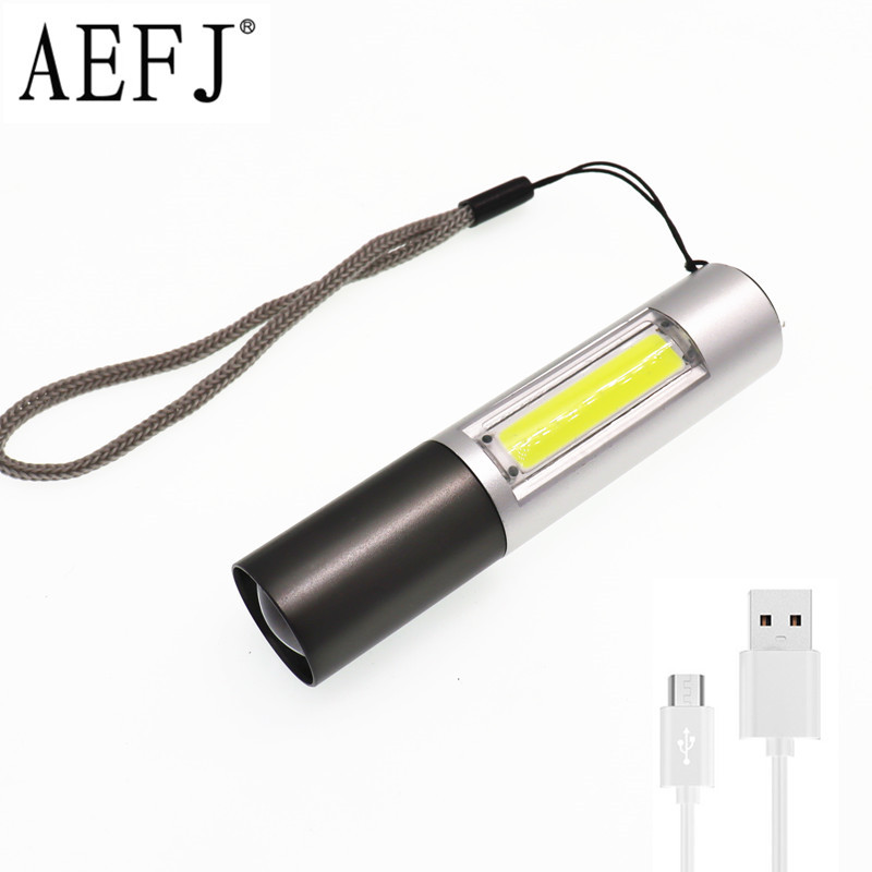 Mini USB Rechargeable ZOOM Flashlight 3 Lighting Mode COB+XPE LED Waterproof Portable Used For Camping, Cycling, Work, Etc