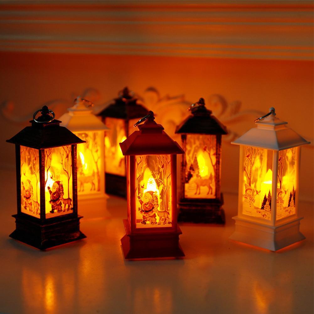 Christmas Decoration Hanging Prop Led Candles Light Vintage Castle Bat Pumpkin Lantern Flame Lamp Party Supplies