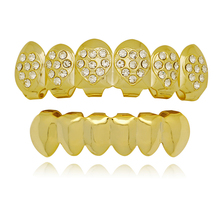 Fashion Heart Crystal Top Bottom Teeth Grillz Sets Unisex Vampire Teeth Grills Mouth Tooth Caps Body Jewelry Gift