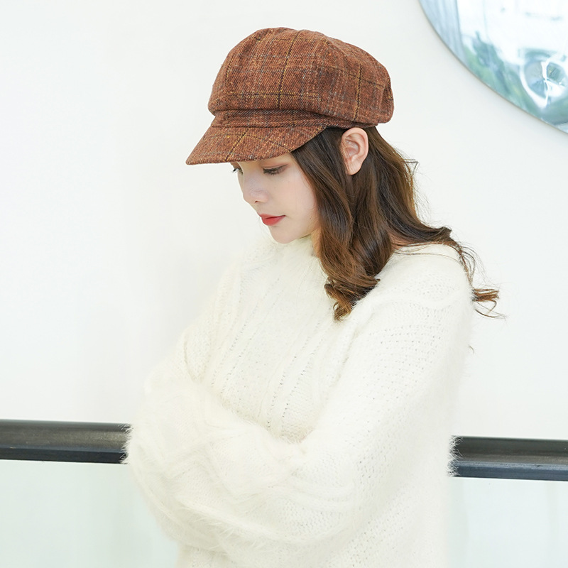 Beret hat lady retro artistic octagonal hat autumn winter male and female lovers casual joker check octagonal hat lady new