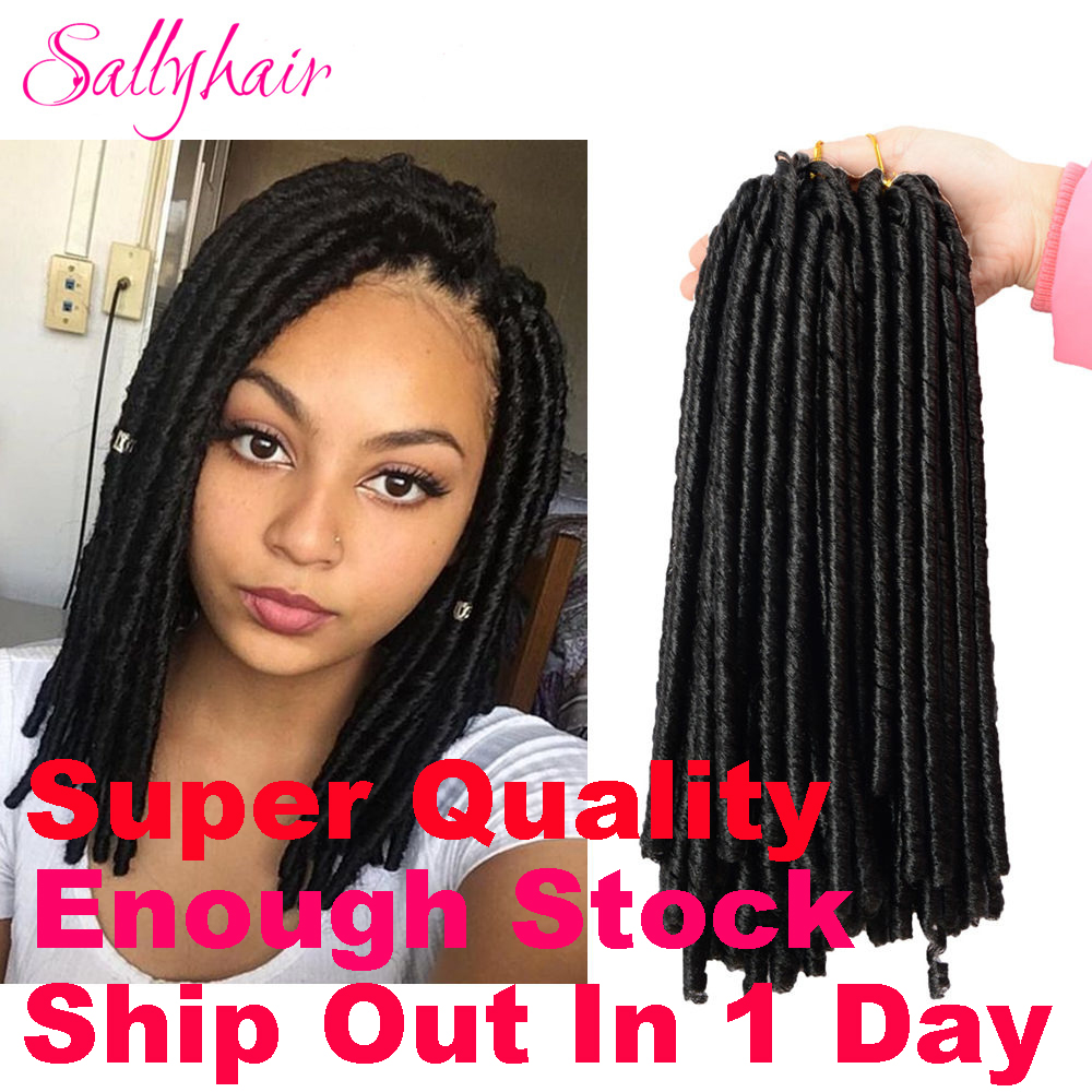 Sallyhair 14inch 70g/pack Crochet Braids Synthetic Braiding Hair Extension Afro Hairstyles Soft Faux Locs Brown Black Thick Full