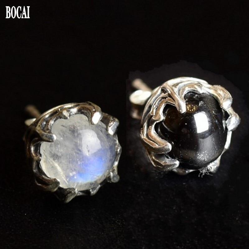 100% réel s925 pur argent griffes sertie de pierre de lune naturelle starstone Thai argent boucles d'oreilles pour hommes et femmes