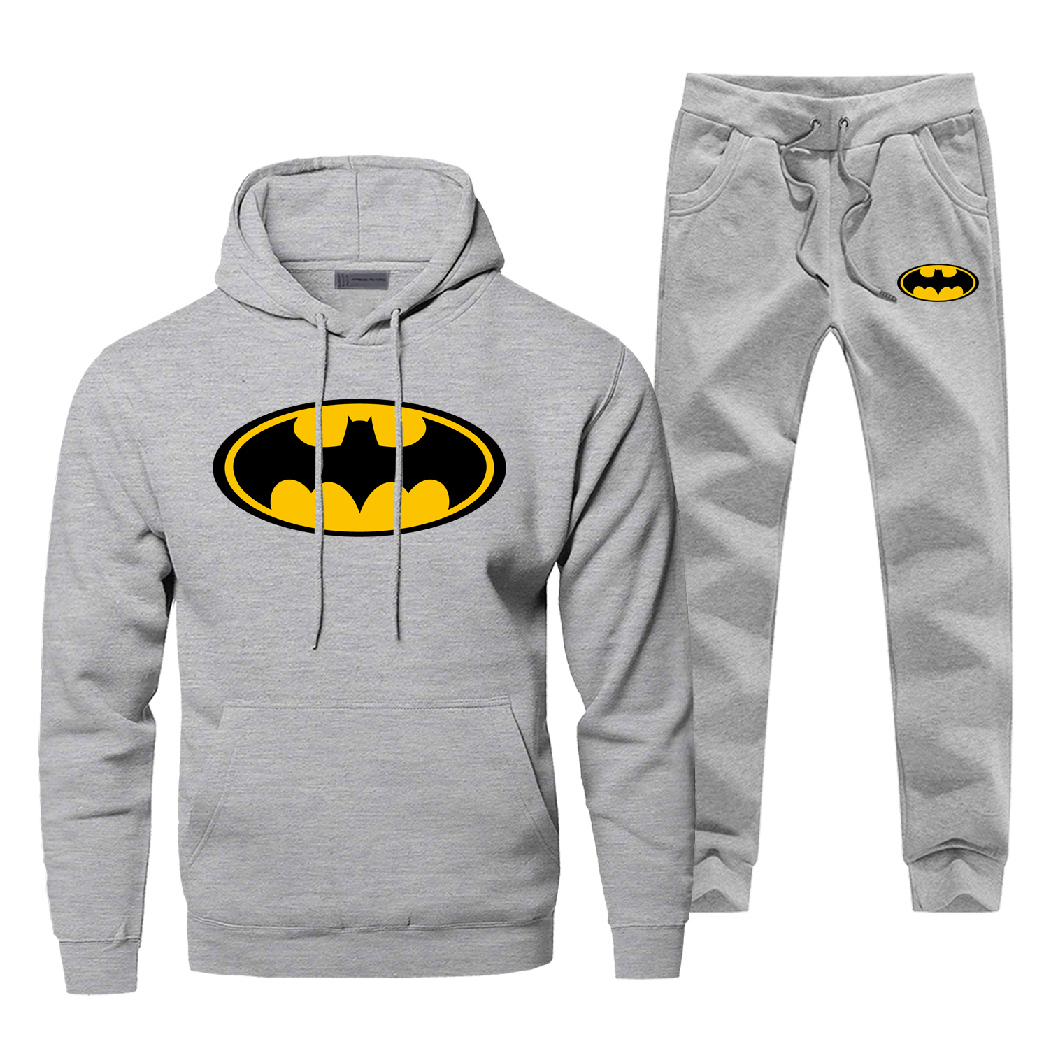 Batman Mens Hoodies Sets Two Piece Pant Totoro Hoodie Sweatshirt Sweatpants Japan Anime Streetwear Sportswear Male Sweatshirts