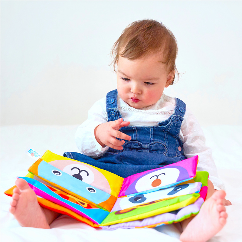 Baby 3D Cloth Book Cartoon Animal Face Matching Cloth Book Montessori Interest Wisdom Early Education Children Toy Gift