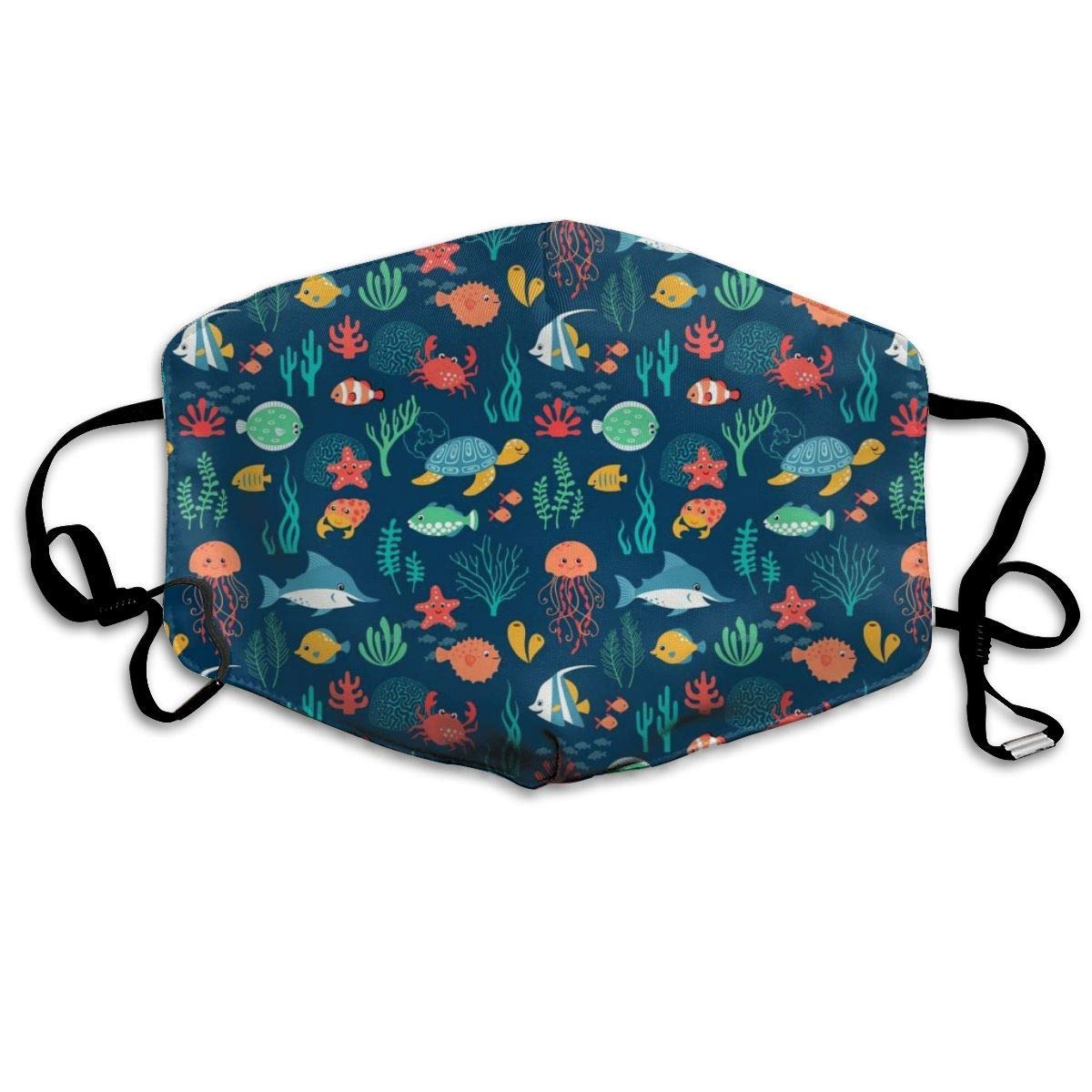Mouth Mask for Daily Dress Up, Underwater Fish Turtle Anti-dust Mouth-Muffle, Washable Reusable Holiday Half Face Masks for Mens