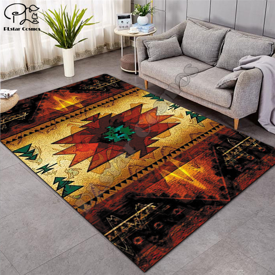 Black Native Indian Lakota Skull Buffalo Soldier Carpets Soft Flannel 3D Printed Rugs Mat Rugs Anti-slip Large Rug Carpet-12