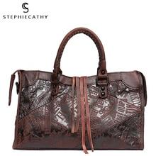 SC كبير المرأة حقيبة جلدية الإناث Vintage الجلود الإيطالية الرجعية عادية مطبوعة جلدية رسول حقيبة كتف حقائب للسيدات