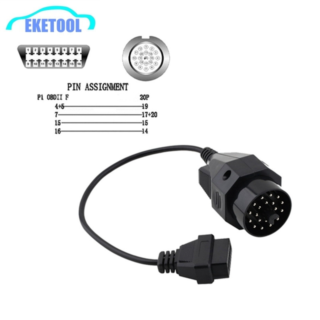 1pc OBD2 Diagnostic Cable For BMW 20Pin OBD2 Connector to OBD1 For BMW Connector 20PIN to 16PIN Pin OBD OBD2 Connector Adapter