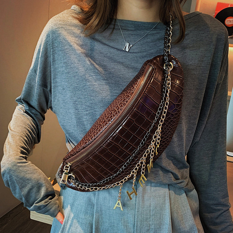 SXCNN 2019 Famous Brand Waist Bag Fashion PU Leather Women Messenger Bags Chains Chest Bag Large Capacity Crossbody Bags