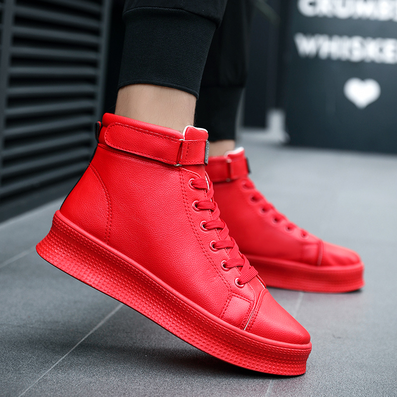 Winter new high top shoes thick soled shoes Solid color anti skid wear resistant high quality leather mens casual shoesMens Casual Shoes   -