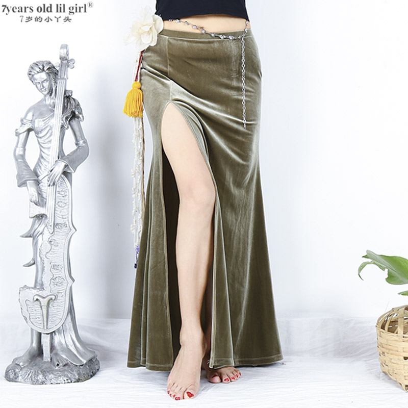 Velvet Belly Dance Practice Clothes New Autumn Skirt With Open Slit  FMM01-04